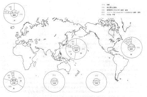 水中遺跡調査分布と地域別調査件数分布図