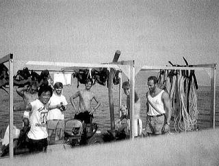 ポート・ロイヤル発掘、調査バージ船Soon Come号とTAMU学生 1989夏