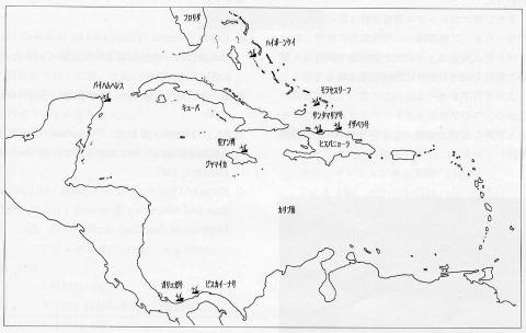 Fig.2 INAが調査中の15~16世紀カリブ海海域の沈没船分布図