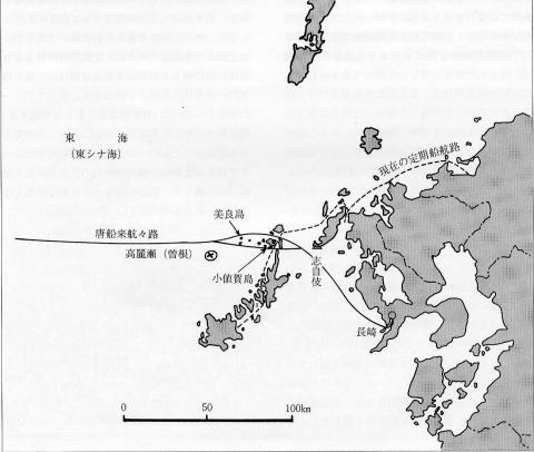 Figure 1.五島列島周辺の西海地方高麗瀬(曽根)と来航予想航路図